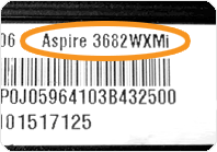 Laptop model number from an Acer Aspire laptop